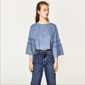 Zara | Chambray Cropped Bell Sleeve Top